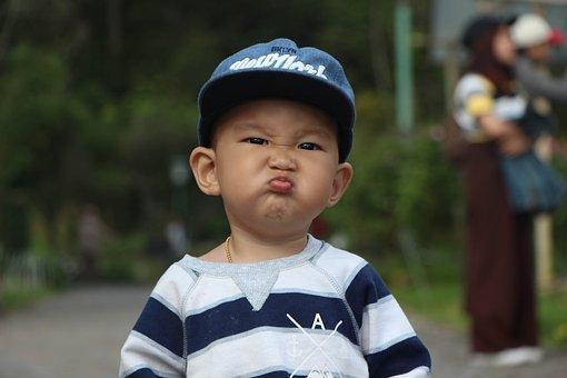 子供, タイ, 表情, チャイルド, 少年, 怒り, 感情, キャップ