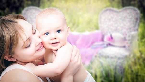 母親, 子, ミイラ, 美しい, 家族, 一体感, お母さん, 女性, 菊